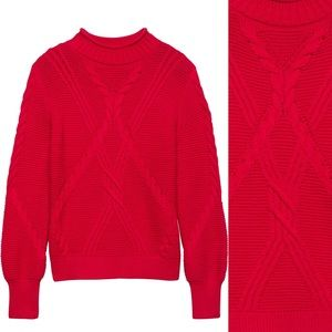 Banana Republic | Red chunky mock neck sweater | M